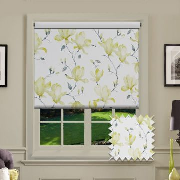 Green Flower Roller Blind Patterned Blackout Magnolia Pipin Fabric